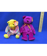 2 TY Beanie Babies Plush Original Stuffed Animals 1999 Millennium 2001 N... - $12.22