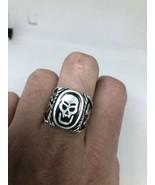 Vintage Mens Skull Ring Southwestern Black Inlay White Bronze Size 12.25 - $34.65