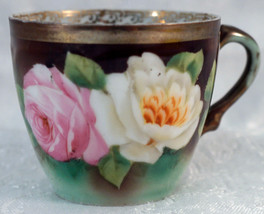 Lovely Cup with Hand Painted Pink & White Roses Marked Royal Vienna - $25.99