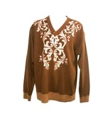 Vintage Mens Royal Prestige Brown Sweater Paisley V-Neck Size 2XL - $18.99