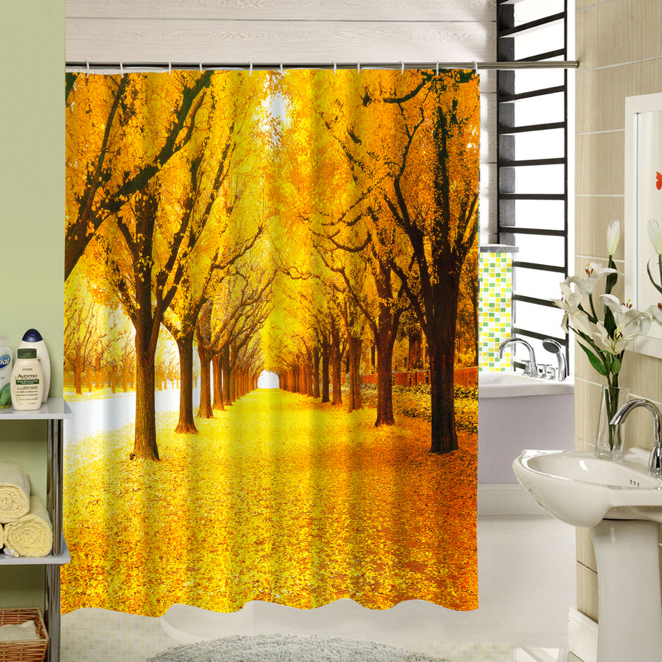Cute Fabric Bath Curtain Polyester Waterproof 3d Printing Tree Shower Curtain in