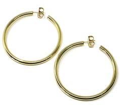 925 STERLING SILVER CIRCLE HOOPS BIG EARRINGS, 6 cm x 4 mm, YELLOW, SMOOTH image 2