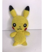 "Handmade Pikachu Pokemon Knit Crochet Yellow Plush 7"" - $22.19"