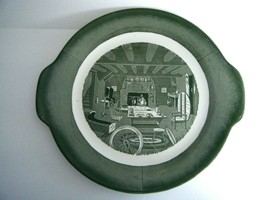 "Colonial Homestead Handled Round Platter Green Transferware 11 3/4"" Made... - $29.65"