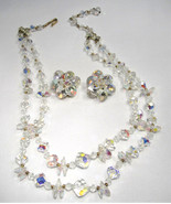 Unique Vintage 2 Strand Crystal Aurora Borealis Necklace & Earrings Set ... - $27.96