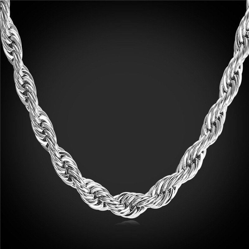 Primary image for Necklaces 6MM 316L stainless Steel/ Gu/18K Real Gold Plated Rope Rope GN2179