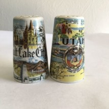 Thrifco Ceramics Salt Pepper Shaker Set Salt Lake City Utah Souvenir Vin... - $9.05