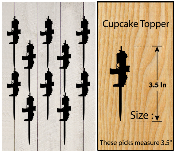 Ca068 Decorations cupcake toppers Gun silhouettes Package : 10 pcs