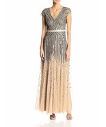 Adrianna Papell Women's Plus-Size Long Cap-Sleeve Gown, Nude, 16W - $149.00