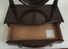 Vtg Ethan Allen Dark Wood Oval Mirror Jewelry Box Shaving Vanity Tabletop Drawer image 4