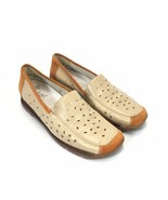 Rieker Perforated Leather Loafer Womans 40 8.5 Tan Brown Slip On Antistress - $48.33