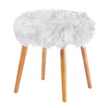 White Fur Stool, 4-legged Modern Decorative Round Fluffy White Faux Fur ... - $99.89