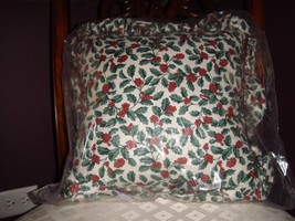Longaberger Traditional Holly Ruffled Corded Pillow - $24.99