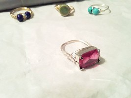Handmade Wire Wrap Ring With Large Pink Faux Gemstone - $7.00