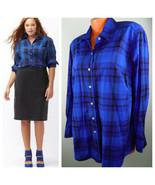 Lane Bryant 18 1X 2X Button Down Shirt Top Tunic Blue Plaid Checked Blog... - $34.64