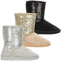 Soda BLING-S New Womens Boots Sequins Faux Suede Comfort Mid-Calf Faux Fur - $23.00