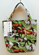 Snap Tote Hand Bag  Wild Horses  6.5 W x 7.5 H x 3 D Cotton Handmade in ... - $13.98