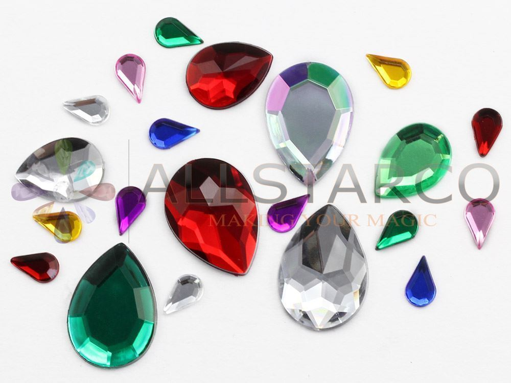 10x6mm Jet Black A11 Flat Back Teardrop Acrylic Gemstones  - 100 Pieces