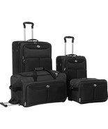 Travel Luggage 4 Piece Set Spinner Wheels Black and Merlot Colors - $118.95