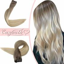 [ONLY $29.99] Easyouth Sew in Hair Balayage Color 8 Ash Brown Fading to 60 Plati image 5