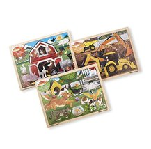 Melissa & Doug Wooden Jigsaw Puzzle arm, Construction, Pets Puzzle (24 Piece) - $35.59