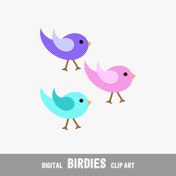Digital Clip Arts Birdies with Dots - Print or Digital Scrapbook (PU & CU)