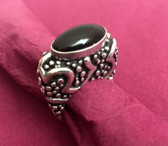 Black Onyx and Silver Bali Style Women's Ring, Size 7.5 - $25.00