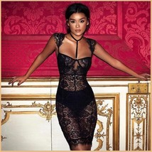 Elegant Evening Black Lace Party Club Mini Dress Includes Black Hip Panties  image 1