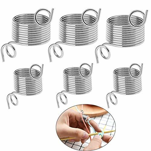 VintageBee 6 Pack 2 Size Metal Yarn Guide Finger Holder Knitting Thimble for Cro