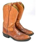 Vtg Tony Lama Cowboy Boots Brown Leather Western Ranch Work Black Label ... - $22.76