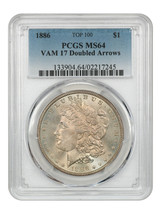 1886 $1 PCGS MS64 (VAM-17 Doubled Arrows) - Morgan Silver Dollar - $383.15