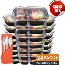 24 Meal Prep Containers Plastic Food Storage Microwavable Reusable Lunch... - €27,35 EUR