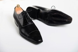 Handmade Men's Black Leather and Tweed Two Tone Dress/Formal Oxford Shoes image 2