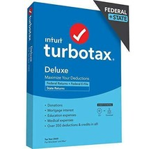 TurboTax Deluxe 2020 Desktop Tax Software, Federal and State Returns + Federal E - $54.45+