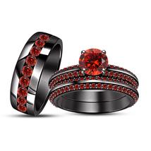 Red Garnet Mens Womens Wedding Trio Ring Set Black Gold Finish 925 Solid Silver - $144.47