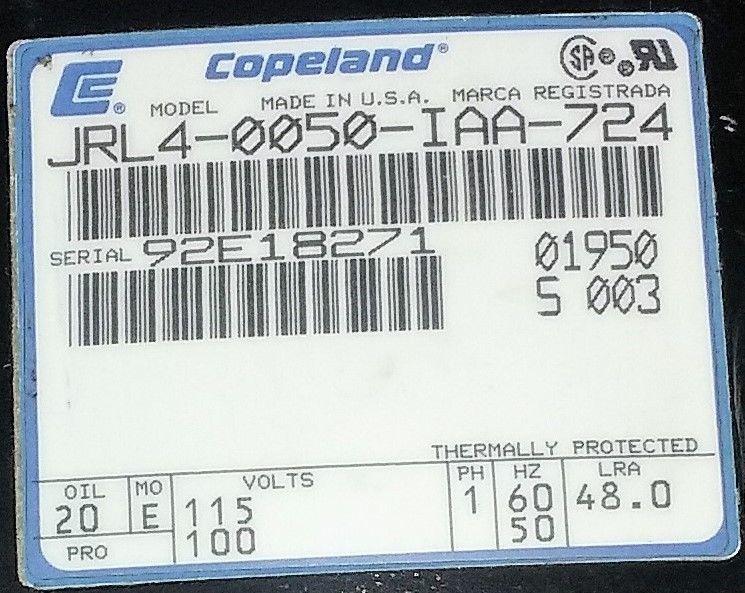 Compressor Refrigeration Copeland JRL4-0050-IAA-724 Volts 115-110 image 2