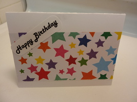 Blank handmade Happy Birthday greeting card,multi-colored,stars - $3.25