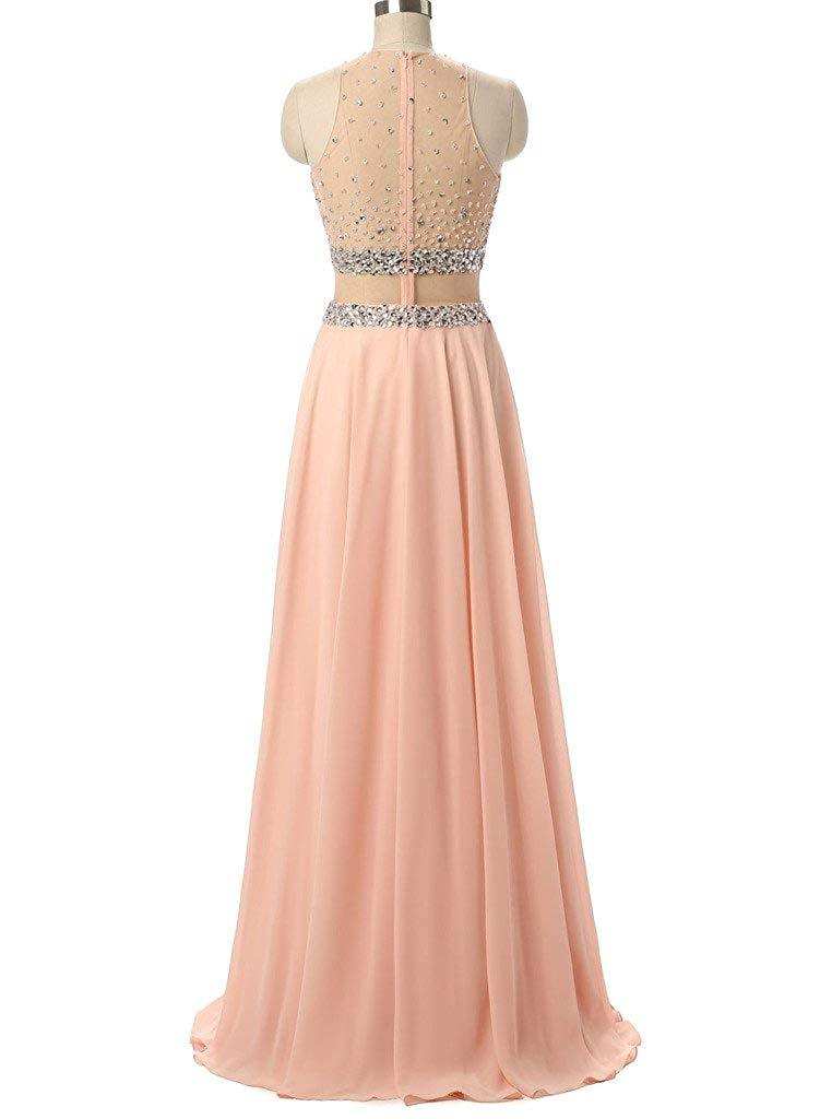 A-Line Hatler Two Piece Evening Dress Long Chiffon Beading Tulle Prom Party Gown
