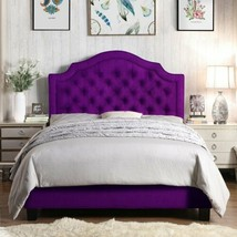 Purple Upholstered Bed Frame Tufted Fabric Buttons Twin Full Queen King ... - $426.59