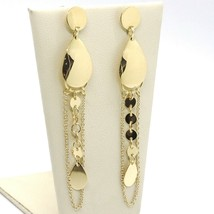 Drop Earrings Yellow Gold 750 18K, Drop, Chain Rolo ' and Plates Discs - $493.32