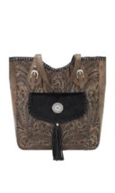 American West- Annie's Secret Collection Large Zip Top Tote (Charcole) - $268.00
