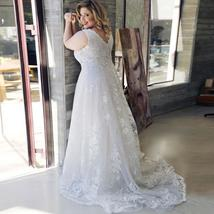 Sexy Plus Size Lace Wedding Dresses Deep V-neck Sleeveless Applique  Tulle Weddi image 2