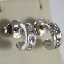 """SOLID 18K WHITE GOLD CIRCLE EARRINGS WITH ZIRCONIA, DIAM 0.35"""" MADE IN ITALY image 1"""
