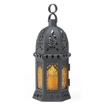 Moroccan Lantern Candle, Yellow Glass Outdoor Lanterns Moroccan Light Decor - $18.13
