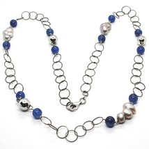 Collier Argent 925, Cyanite Bleu Rondes, Perles Style Baroque Grises, 72 CM - $163.13
