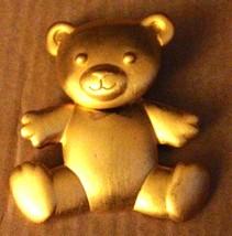 Vintage Gold Tone Moving Head Teddy Bear Pin Brooch-JJ Jonette Jewelry-1980s!!!! - $19.79