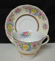Vint COLCLOUGH China TEA CUP & SAUCER Pale Yellow Band Floral Bouquet En... - $16.48