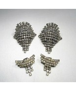 Estate Set of 2 Pair Vintage Rhinestone Shoe Clips C2529 - $24.12