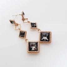 SE50 Women Diamond Shape Drop Earrings Made with Swarovski Crystal  Silver 925 image 3