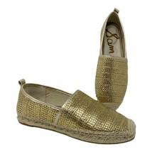 Sam Edelman Women's 8 Khloe 5 Woven Espadrille Flats Gold Mule Summer NEW - $74.69